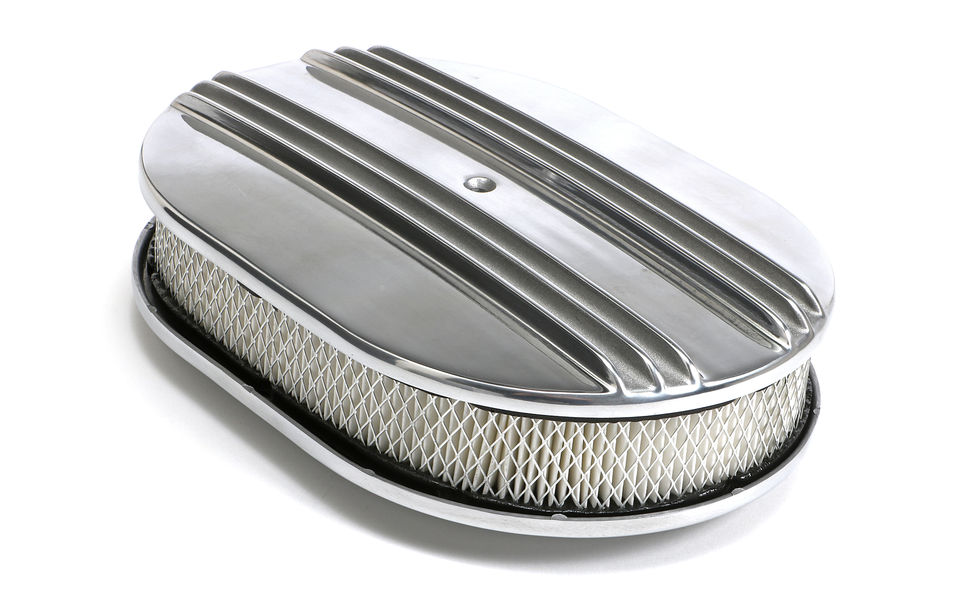 Finned Aluminum OVAL Air Cleaner Set; 2
