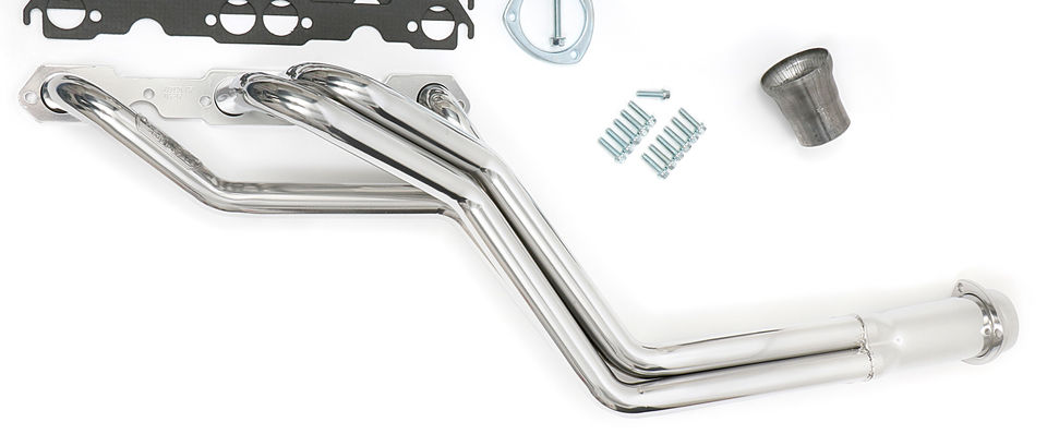 S10 / SB CHEVY V8 ENGINE SWAP HEADERS; LONG TUBE- HTC Silver Ceramic Coated