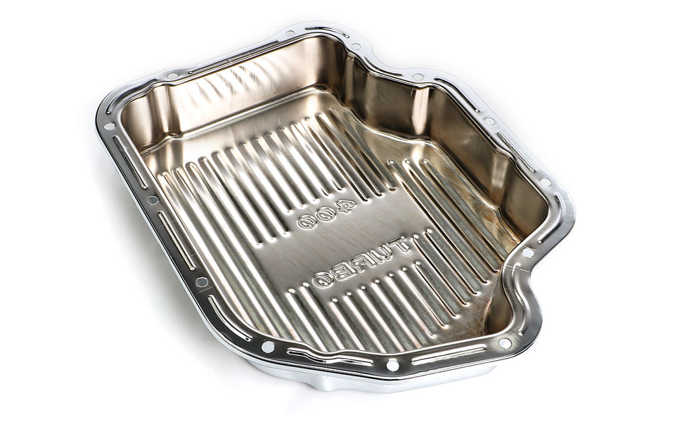 TH400-CHROME Transmission Pan; Extra Capacity (+1.5 Qt); 3