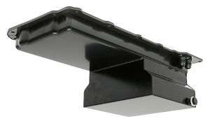 LS Swap Oil Pan; 67-69 Camaro, 65-72 Chevelle, Nova; Straight Fittings- Black