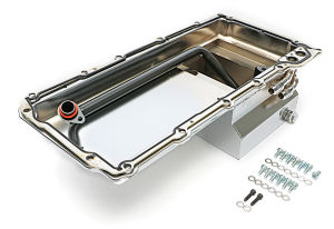 LS Swap Oil Pan; 67-69 Camaro, 65-72 Chevelle, Nova; 90 Degree Fittings- Chrome