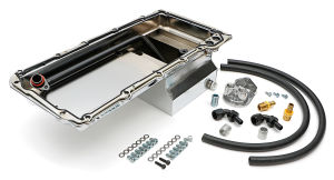 LS Swap Oil Pan/Filter Reocation Kit; Single Filter; Vertical Port; Chrome Pan
