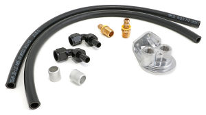 Single Oil Filter Relocation Kit For LS Oil Pans with-10AN fittings-Vert Ports