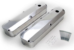 FABRICATED ALUMINUM VALVE COVERS POLISHED SB FORD WITH HOLE
