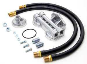 DUAL Oil Filter Relocation Kit;2-1/2 in.ID;2-3/4 in.OD Filter Flange;22mmX1.5