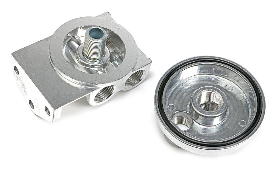 CAST ALUMINUM OIL FILTER RELOCATION KIT; HORIZONTAL PORTS