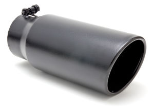 "EXHAUST TIP BOLT-ON; GLOSSY BLACK; 4"" I.D. X 5"" X 15"" ROLLED ANGLE"