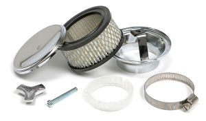 Deep Dish Style Air Cleaner Set 4 in. Dia., 2 in. Tall, 2-5/8 in. Neck-CHROME