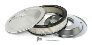 MUSCLE CAR-STYLE Air Cleaner Set; 14 in. Dia, 3 in. Tall, 5-1/8 in. Neck-CHROME