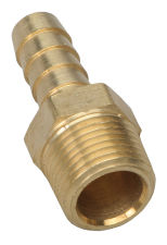 STRAIGHT Fuel Hose Fitting; 3/8 in. NPT to 3/8 in. I.D.- BRASS