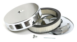 Louvered CORVETTE-Style Air Cleaner Set; 14 in. x 3 in., 5-1/8 in. Neck-CHROME