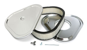 TRI-FLOW Triangular Air Cleaner Set; 14 in. Wide; 3 in. Tall-CHROME