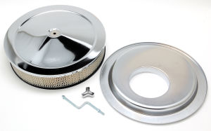 14 in. X 3 in. MUSCLE CAR-STYLE AIR CLEANER SET; OFFSET BASE; CHROME