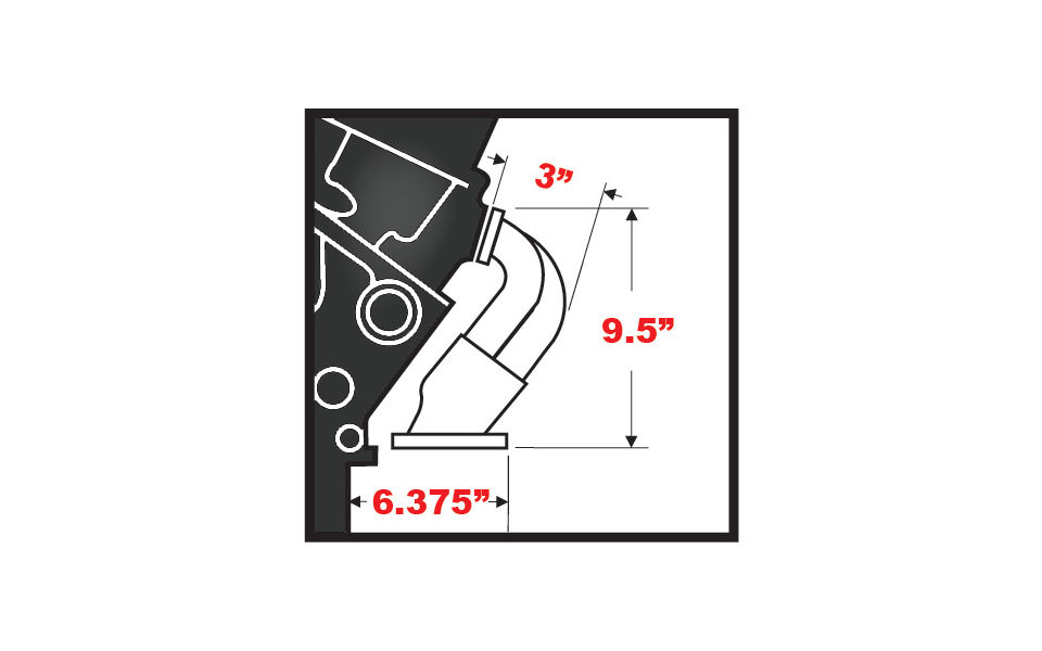 Photo of dimensions for Hedman Block Hugger Headers