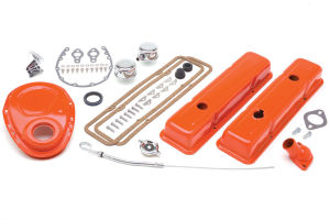 1958-86 SB CHEVROLET 283-400 ENGINE KIT WITH PCV- CHEVY ORANGE POWDER-COATED