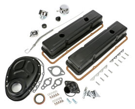 1958-86 SB CHEVROLET 283-400 ENGINE KIT WITH PCV- ASPHALT BLACK POWDER-COATED