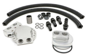 Oil Filter Relocation Kit; Multi-Position Port; Ford 7.3L Diesel-Billet Aluminum