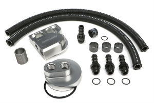 BILLET SINGLE OIL FILTER RELOCATION KIT-FORD DIESEL 1 1/2-12 THREADS