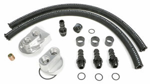 BILLET SINGLE OIL FILTER RELOCATION KIT-FORD 4.6+5.4L, CHEV LS