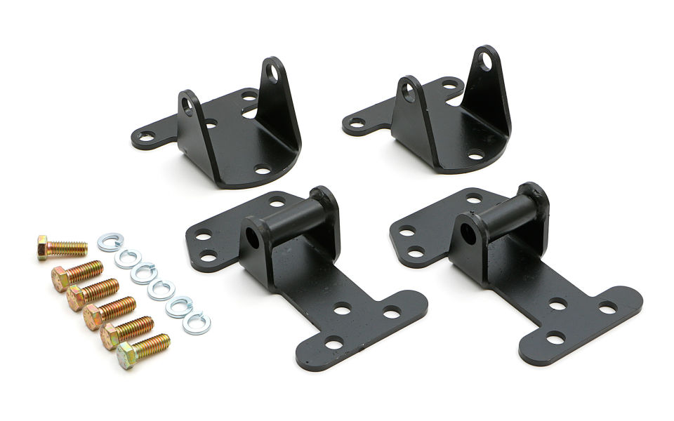 Photo of all steel motor mounts for SB and BB Chevy engines.