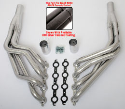 LS in TRI-5 Chevy Headers; 1-3/4 x 1-7/8 in. Dia, Stepped Long Tube-Black Maxx