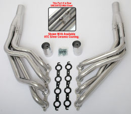 LS into TRI-5 Chevy Headers; 2 in. Dia, LONG Tube-Uncoated