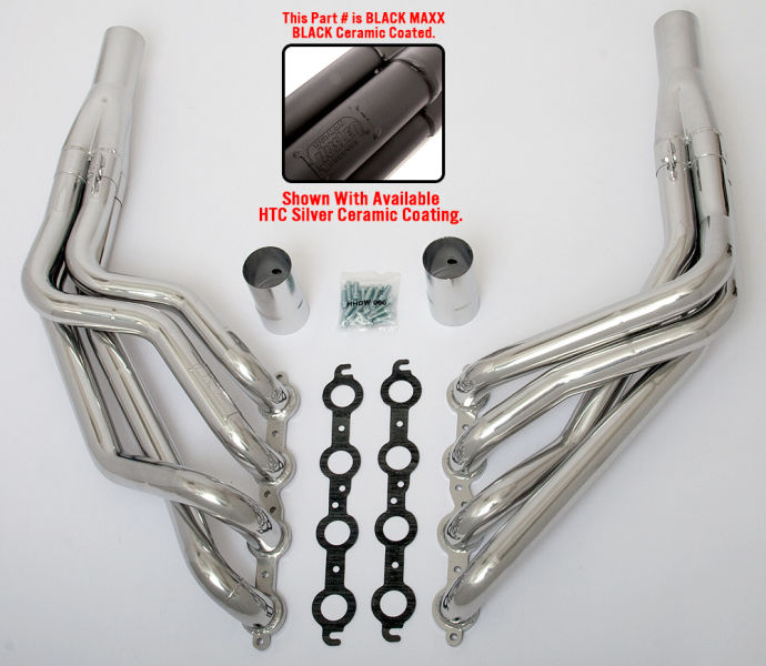 Long Tube Husler LS swap headers for 1955-1957 Chevy tri-5 cars- Black Maxx