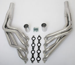 LS into TRI-5 Chevy Headers; 2 in. Dia, LONG Tube; HTC (Silver)
