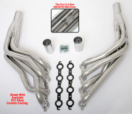 LS into 1967-98 C10 1/2 Ton TRUCK (2WD) Headers; 2 in. Dia, Long Tubes-Uncoated