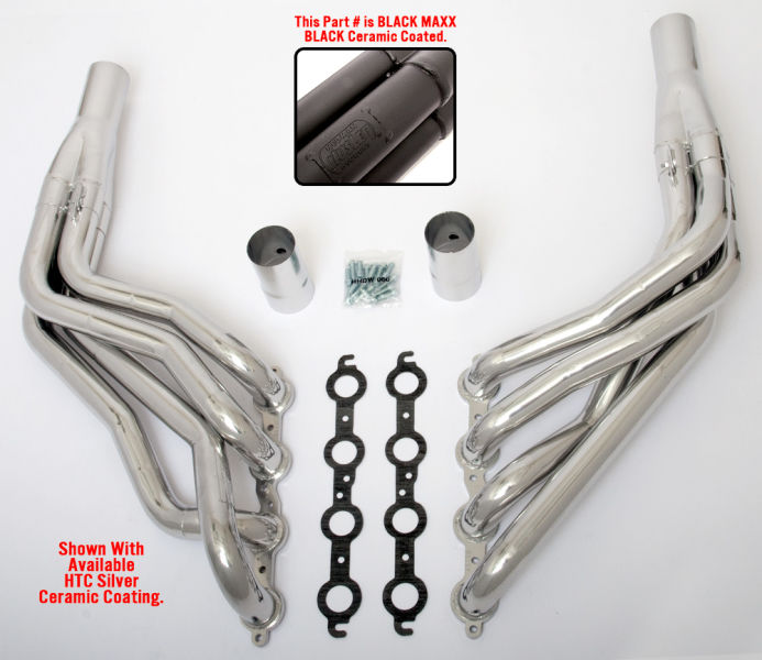 LS in 1967-98 GM 1/2 Ton Truck (2WD)- long-tube engine swap headers- Black Maxx