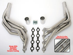 LS in '82-93 FORD FOX Body Headers;1-7/8 x 2 in. Stepped Long Tube-Uncoated
