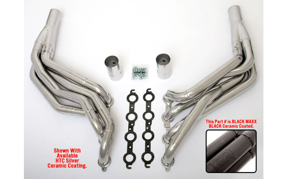 LS into 1982-93 Fox-Body Mustang- Step Long-Tube engine swap headers- Black Maxx