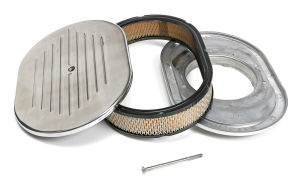Oval Air Cleaner Set PINSTRIPE (Ball-Milled); 8-3/8 in. x 12 in. Length-ALUMINUM