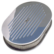 Oval Air Cleaner Set PINSTRIPE (Ball-Milled); 8-3/8 in. x 15 in. Length-ALUMINUM