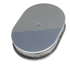 Oval Air Cleaner Set PLAIN; 8-3/8 in. Width, 12 in. Length- ALUMINUM