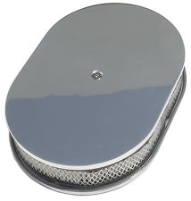 Oval Air Cleaner Set PLAIN; 8-3/8 in. Width, 15 in. Length- ALUMINUM