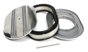 Finned Aluminum OVAL Air Cleaner Set; 2 x 12 x 8-3/8 in.; 5-1/8 in. Neck