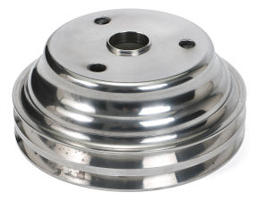 CRANKSHAFT Pulley; 2 Groove; 69-85 CHEVROLET 283-350; LONG W/P- Pol. ALUMINUM