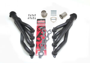 67-87 CHEVY TRUCK LS SWAP HEADERS; MID-LENGTH; STAINLESS STEEL- BLACK MAXX