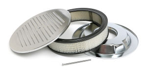 Round Air Cleaner Set PINSTRIPE (Ball-Milling); 14 in. x 3 in.- ALUMINUM