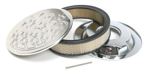 Round Air Cleaner Set FLAME (Ball-Milling); 14 in. Diameter, 3 in. TallALUMINUM