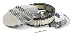 Finned Aluminum ROUND Air Cleaner Set; 3 in. Tall, 14 in. Dia., 5-1/8 in. Neck