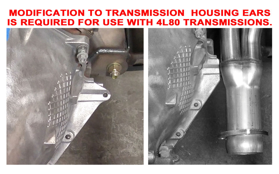 Close-up modification required to install C10 & LS with a 4L80 transmission.
