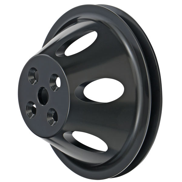Photo of single groove, black aluminum water pump pulley for BB Chevy engines