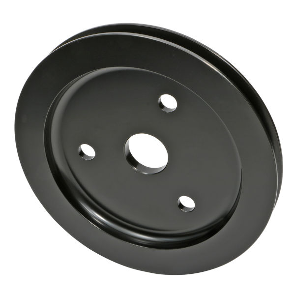 Photo of 1 groove, black aluminum crankshaft pulley for SB Chevy engines