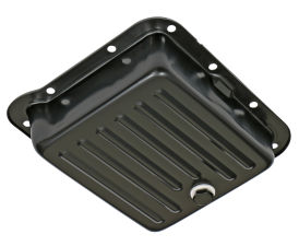 FORD C4 TRANSMISSION PAN; STOCK DEPTH / STOCK CAPACITY; STEEL- BLACK FINISH