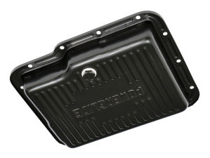 POWERGLIDE TRANSMISSION PAN; STOCK DEPTH / STOCK CAPACITY; STEEL- BLACK FINISH