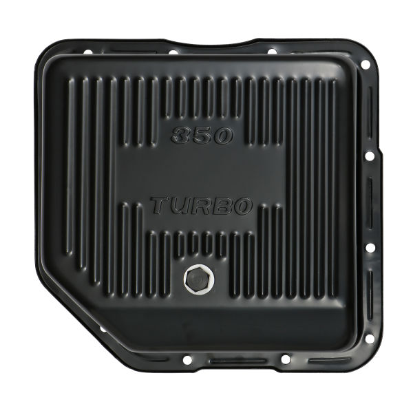 Exterior bottom photo of deep transmission pan for GM TH350 transmissions