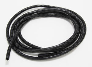 BLACK Wire Harness; Convoluted; 1/4 in. Diameter- (10 ft)