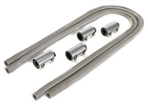 STAINLESS STEEL HEATER HOSE KIT- POLISHED ALUMINUM ENDS